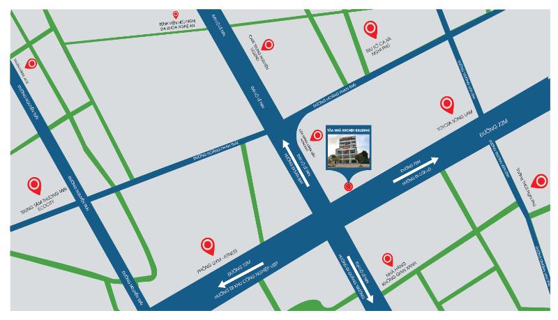 Vị trí tòa nhà Kuchen tại đường 72m thành phố Vinh